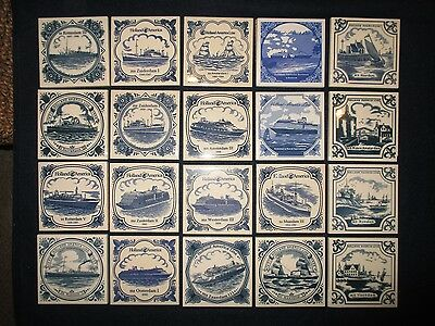 20 HOLLAND AMERICA CRUISE LINE delft tile coaster LARGE LOT collector ships