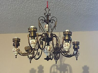 Vintage Victorian Six Brass Arms Porcelain Chandelier w / Greek / Roman Motifs