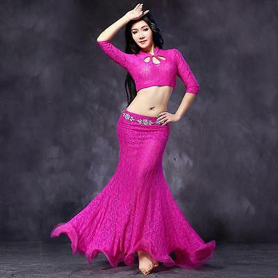 New 2016 Women Lace Belly Dancing Costumes Stage Club 2Pcs Top&Long Skirt  M L