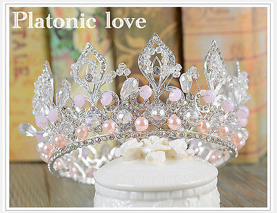 Romantic Pink Queen Tiara Crown Prom Girl Gift Wedding Bridal Hair Accessory