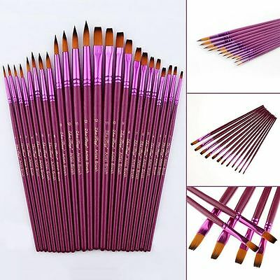 12pcs Face Painting Brushes Round With Flat Tip Art Paint Brush Glitter Set New