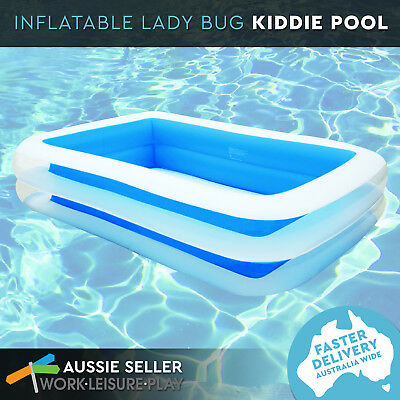 Airtime Inflatable Giant Family Kids BLUE Pool 2 Ringed 305x183x56cm