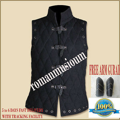 Christmas Gifts Thick black color Gambeson Medieval Padded collar sleevesless