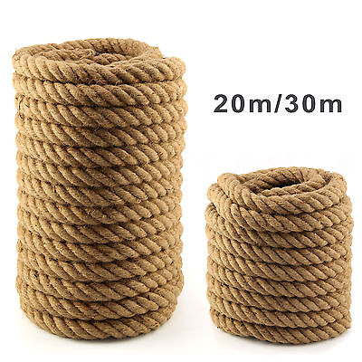 20m/30m Heavy Duty Natural Jute Super Strong 35mm Tug Of War Rope Garden Decking