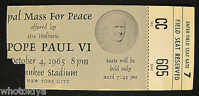 Pope Paul VI Papal Mass For Peace Ticket October 4 1965 Yankee Stadium whotoldya