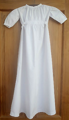 Hand Embroidered Christening Dress Night Gown Antique Baby Dolls 0-6m Linen