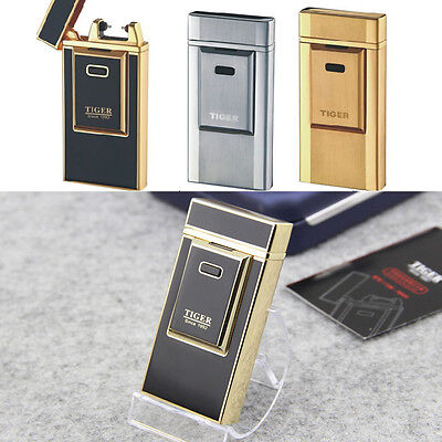 Tiger Luxury Foil Rechargeable Battery USB Electric Windproof Flameless Lighter