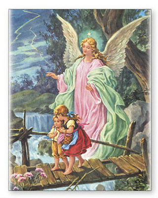 Guardian Angel Canvas Picture - Statues Candles Crucifixes Key Rings Also Listed