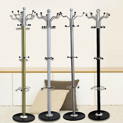 Colorful Metal Hat and Coat Clothes Umbrella Hall Stand Rack Hanger Marble Base