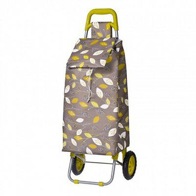 Leaf Print Design Sprint Foldable Collapsible Shopping Market Trolley Cart