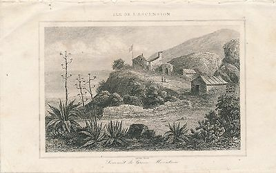 Ascension Island  Green Mountain  Engraved Print