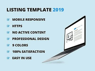 Ebay Template Listing Professional Auction design Responsive mobile HTML 2019