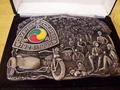 Vintage AMA Gypsy Tour 70 Year Pewter Belt Buckle Harley Indian Motorcycle
