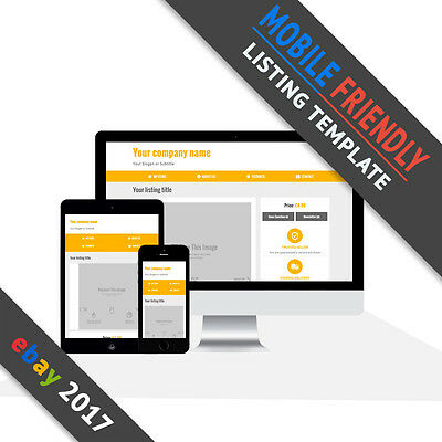 Ebay Listing Template 2017 | Mobile Friendly Auction Shop | Responsive | Yellow