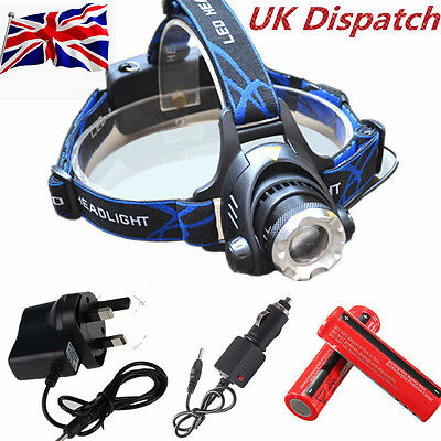 6000Lm T6 Zoomable CREE XML LED Rechargeable Head Torch Headlamp Headlight 18650