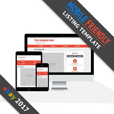 Ebay Listing Template 2017 | Mobile Friendly Auction | Responsive Design | Red
