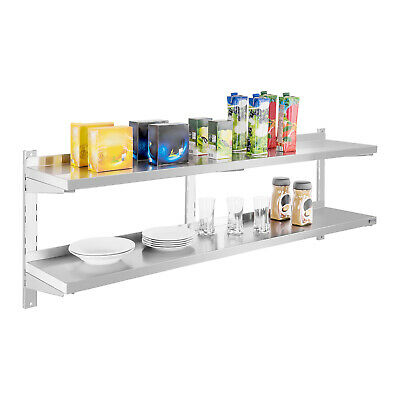 Wall Shelf 2 Shelves Unit Stable Storage Surface Gastro Stainless Steel 160Cm