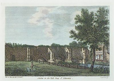 OLD ANTIQUE PRINT BURY ST EDMUNDS SUFFOLK c1785 by HOOPER / SPARROW ENGRAVING