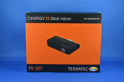 TERRATEC CINERGY T2 Stick micro USB DVB-T/T2  PC oder Android App 1080p OVP