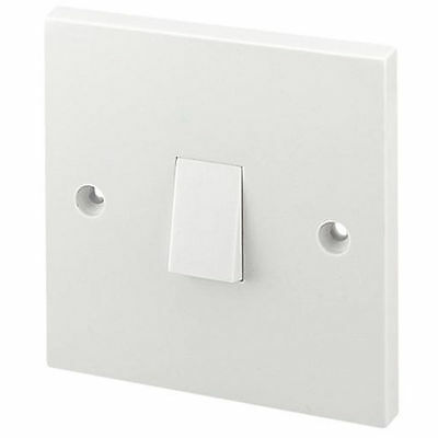 Single Gang Light Switch 1 Gang 2 Way Electric White 10A Beveled
