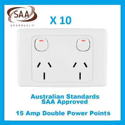 10 X 15 Amp Double Power Point Electrical Socket GPO 240V 15A Outlet White SAA