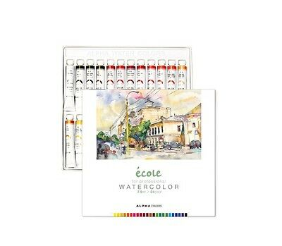 Watercolour Paint Alpha Ecole Set 24 Colours 7.5ml 0.25oz Tube