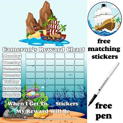 A4 Reusable Pirate Toilet Potty training Reward Chart, Stickers & pen, MAGNETIC