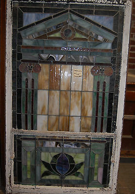 "Arts/craft 1915 Stained Glass Window From Ky Church Arhitectural Salvage 39""x64"""