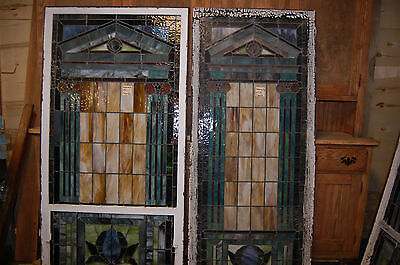 """Arts/craft 1915 Stained Glass Window From Ky Church Arhitectural Salvage 33""""x77"""""""