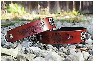 Celtic Brown Mahogany Leather dog hound collars