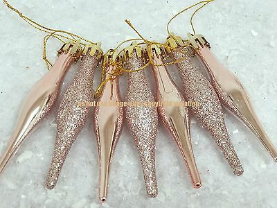 18 X Rose Gold Glitter Icicle Christmas Tree Baubles Xmas Decorations