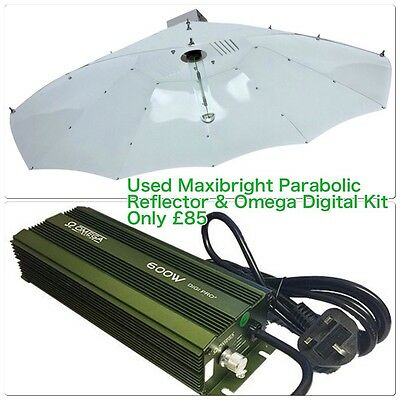 Hydroponic Used Growing Light 600w Watt Parabolic HPS Omega Digital Dimmable Kit