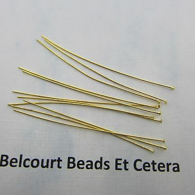 "500 Gold Plated Brass 2"" (50.8mm) Headpins - 24GA - Flexible and Easy to Use"