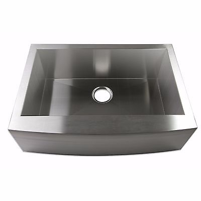 "24"" Zero Radius Single Bowl Stainless Steel Apron Farm Sink Curved Front"