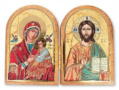 Double Icon Folding Wooden Plaque Christ God Mary Jesus - Candles Statues Listed