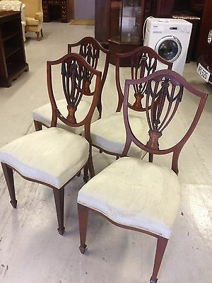 A Set of Four Edwardian Mahogany Inlaid Dining Chairs