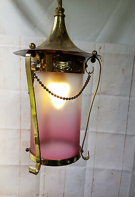 Antique Brass Ceiling Pendant Light with Cranberry Shade