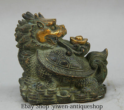 4'' China Bronze Gilt Wealth Dragon Tortoise Turtle Yuan Bao Statue Sculpture