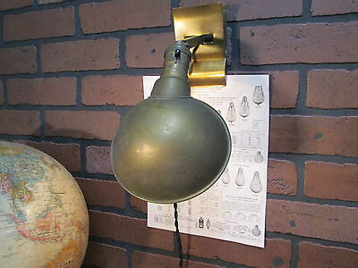 Vintage Industrial Farberware Adjusto-Lite Brass Task Light Wall Sconce Clip