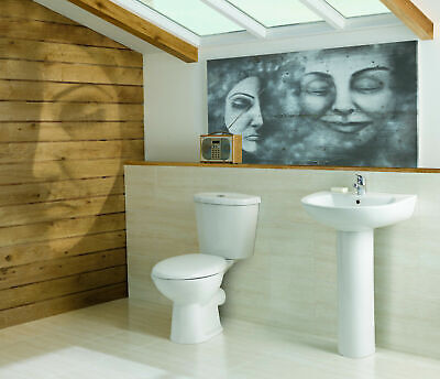 Modern 4 Piece Bathroom Suite, Toilet & Soft Close Seat, 545mm Basin & Pedestal