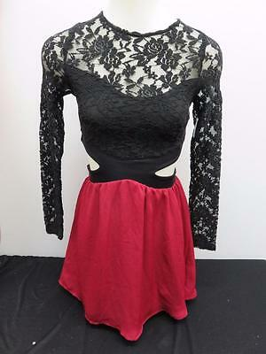 Dance Costume Extra Small Adult Black Red Lace Dress Lyrical Solo Competition