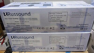 Russound AB-3.2 Automatic A/B Selector - Speaker, Amplifier Compatible ( New )