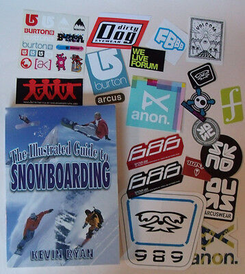 The Illustrated Guide to Snowboarding BOOK & STICKERS Burton Forum Volcom Anon