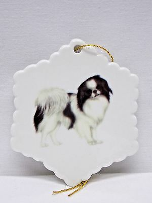 Japanese Chin Dog Porcelain Snowflake Christmas Tree Ornament Fired  Decal 3 In