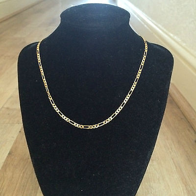 "Lifetime Guarantee 16"" 3mm Yellow Gold Plated Figaro 3+1 Slim Necklace and Box"