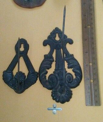 2 Cast Iron Bill Receipt Holder Spike Wall Mounting Marked 'Tatum' & 1 Unbranded