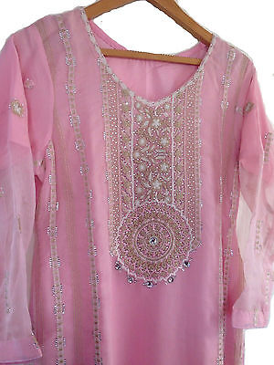 Designer Pakistani Indian Asian Quality Chiffon Dress Wedding Party Stitch Suit
