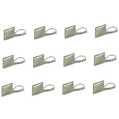 12pcs Silver Brass 16mm Square Cabochon Settings Earring Jewelry Craft