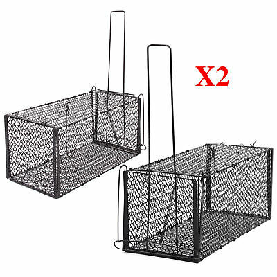 Large Rat Mouse Trap Catcher Metal Cage Live Animal Rodent Pest Control X2