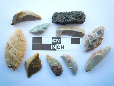 10 x Neolithic Tools \ Scrapers, Saharan Flint Artifacts- 4000BC (W055)